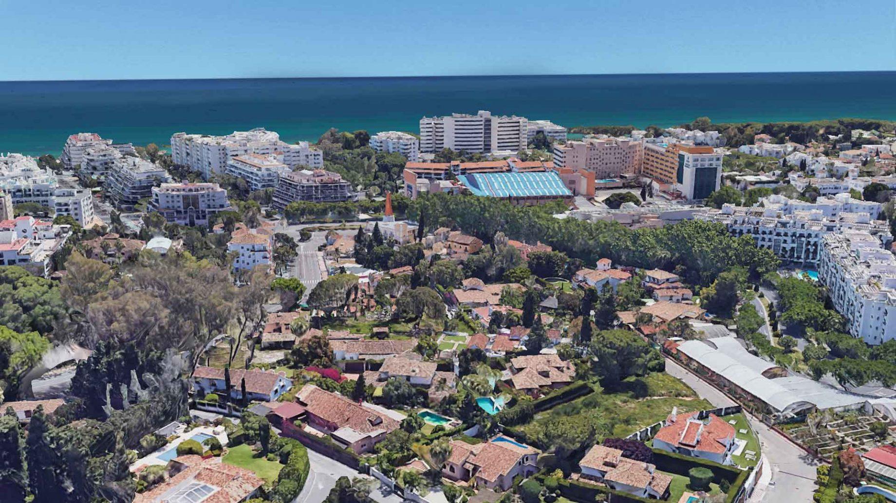 Aerial view of La Merced, area of villas in Marbella centre